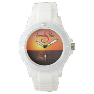 Tropical Beach Orange Sunset Personalized - Watch