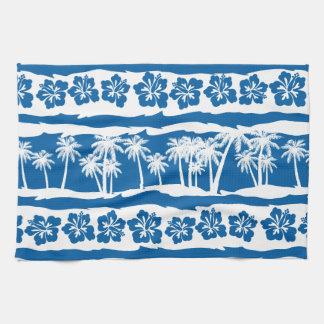 Tropical beach palm stripes kitchen towel