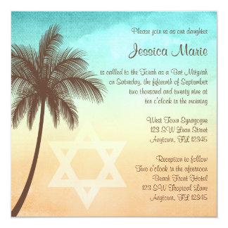 "Tropical Beach Palm Tree Bat Mitzvah Invitations 5.25"" Square Invitation Card"