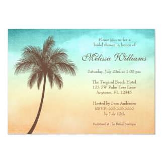 Tropical Beach Palm Tree Bridal Shower 13 Cm X 18 Cm Invitation Card