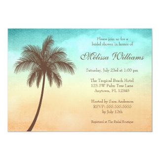 Tropical Beach Palm Tree Bridal Shower 13 Cm X 18 Cm Invitation Card