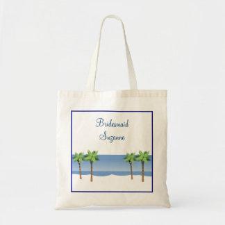 Tropical Beach Palm Tree Custom Wedding Bridesmaid Budget Tote Bag