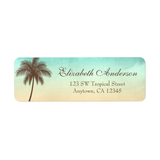 Tropical Beach Palm Tree Personalised Return Address Label