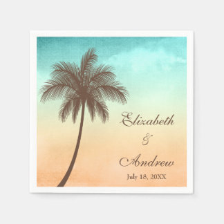 Tropical Beach Palm Tree Personalized Wedding Paper Napkins