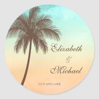 Tropical Beach Palm Tree Round Wedding Favor Label Round Sticker