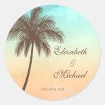 Tropical Beach Palm Tree Round Wedding Favour