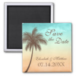 Tropical Beach Palm Tree Save the Date Square Magnet