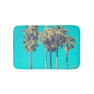 Tropical beach palm tree summer paradise photo bath mats