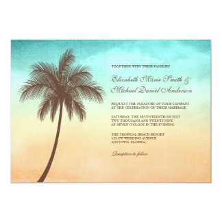 Tropical Beach Palm Tree Wedding Invitations
