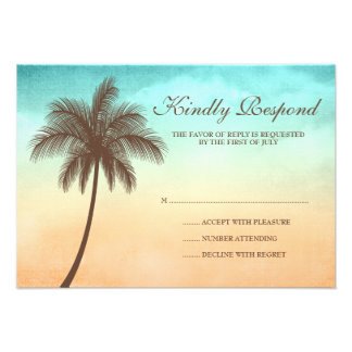 Tropical Beach Palm Tree Wedding Response Card Invites