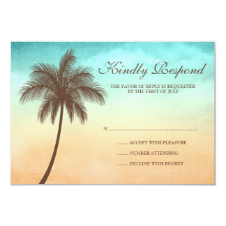 Tropical Beach Palm Tree Wedding Response Card 9 Cm X 13 Cm Invitation Card