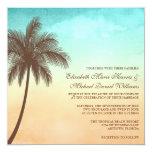 Tropical Beach Palm Tree Wedding Square Personalized Invitation