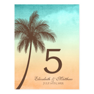 Tropical Beach Palm Tree Wedding Table Number Postcard