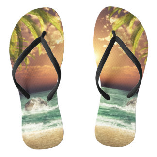 Tropical Beach Palm Trees Flip Flops