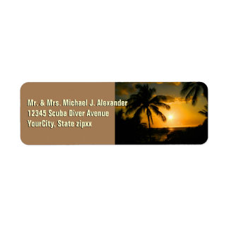Tropical Beach Palm Trees Return Address Label