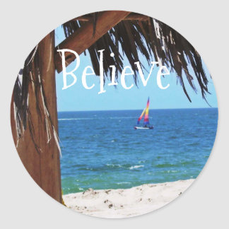Tropical Beach Paradise Classic Round Sticker