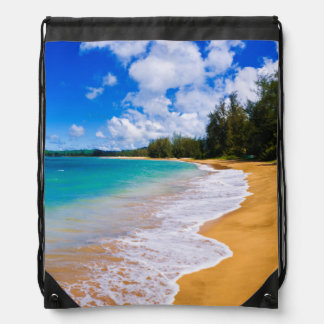 Tropical beach paradise, Hawaii Drawstring Bag