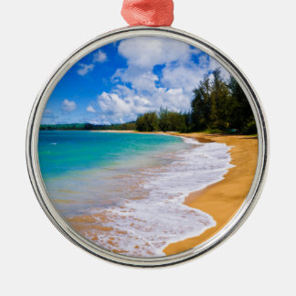 Tropical beach paradise, Hawaii Silver-Colored Round Decoration