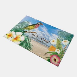 Tropical Beach Parakeet Bird Doormat