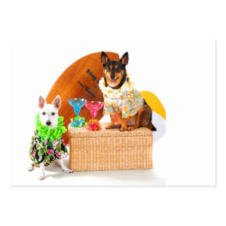 Tropical  Beach Party Dogs in Hawaiian BeachGear Pack Of Chubby Business Cards
