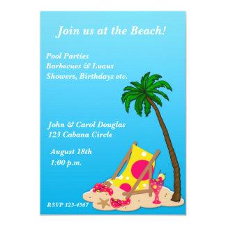 "Tropical Beach Party Invitation 5"" X 7"" Invitation Card"