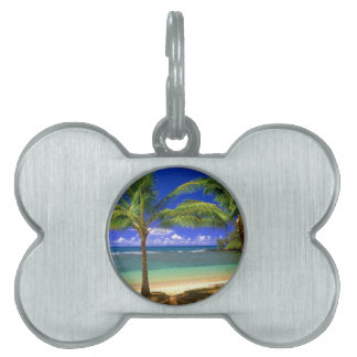 tropical beach pet ID tag