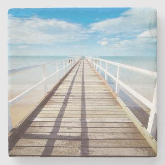 Tropical Beach Pier Stone Coaster
