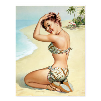 Tropical Beach Pin Up Postcards