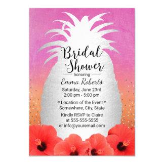 Tropical Beach Pineapple Floral Bridal Shower Card