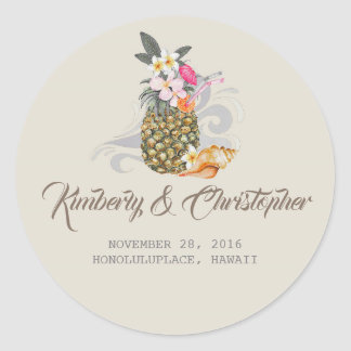 Tropical Beach Pineapple Wedding Classic Round Sticker