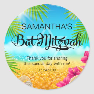 Tropical Beach Pink Hibiscus Bat Mitzvah Classic Round Sticker