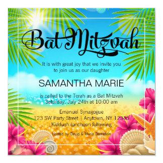 Tropical Beach Pink Hibiscus Bat Mitzvah 5.25x5.25 Square Paper Invitation Card