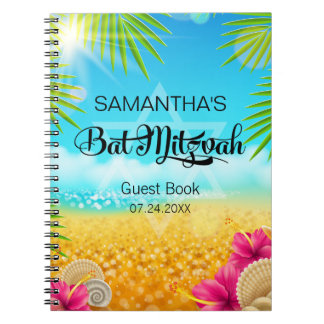 Tropical Beach Pink Hibiscus Guest Book Notebook