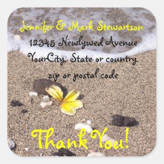 Tropical Beach Plumeria Thank you with address Square Sticker
