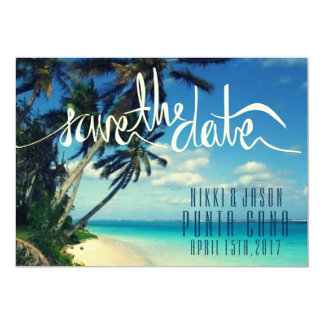Tropical Beach Punta Cana, Dominican Save the Date 13 Cm X 18 Cm Invitation Card