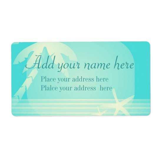 Tropical Beach Romance, customise Shipping Label