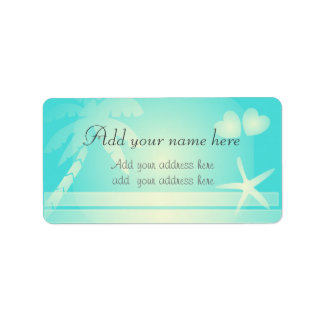 Tropical beach romance. Customize text Label