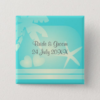 Tropical beach romance. Palm tree with hearts 15 Cm Square Badge