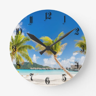 Tropical beach round clock