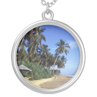 Tropical Beach Round Silver Necklace