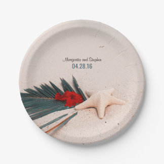 Tropical Beach Sand Palm Leaf and Starfish Wedding Paper Plate