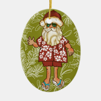 Tropical Beach Santa Christmas Ornament