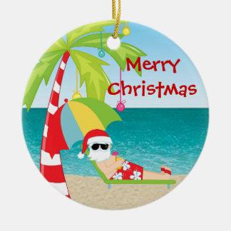Tropical Beach Santa Palm Tree Christmas Ornament