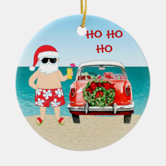 Tropical Beach Santa with Classic Car Christmas Christmas Ornament