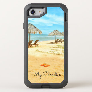 Tropical Beach Scene Blue water OtterBox Defender iPhone 8/7 Case