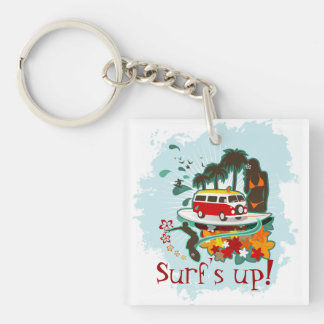 Tropical Beach Scene Double-Sided Square Acrylic Key Ring