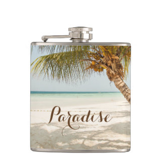 Tropical Beach Scene Hip Flask