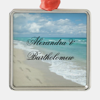 Tropical Beach Scene Personalized Keepsake Christmas Ornament