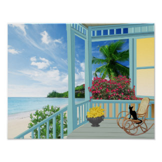Tropical Beach Scene Poster