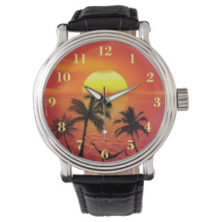Tropical Beach Scene Sunset Palm Trees Watch